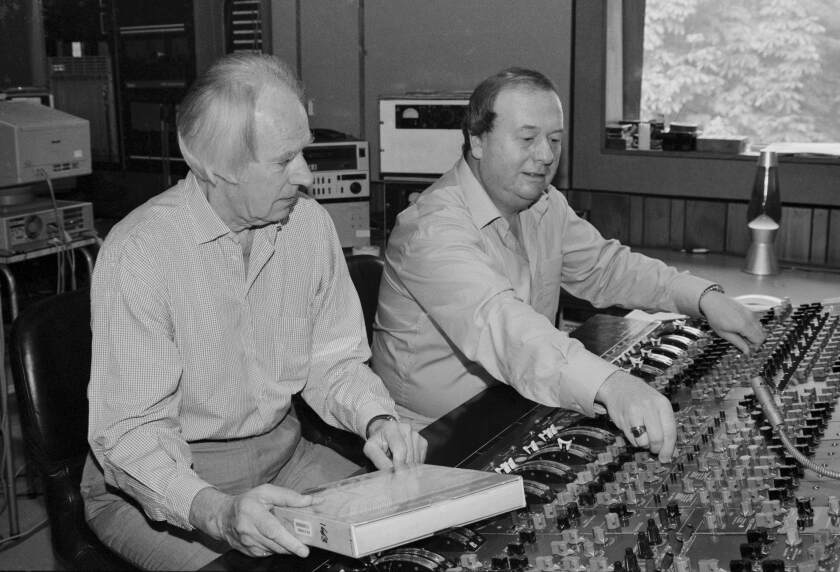 Beatles producer George Martin and recording engineer Geoff Emerick