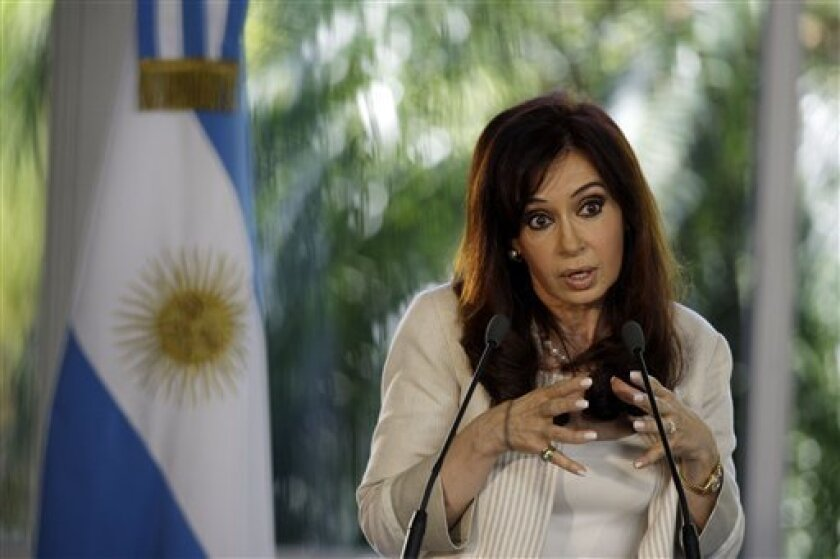 Argentina's President Cristina Fernandez announces an agricultural aid package at the presidential residence in Buenos Aires, Wednesday, Jan. 14, 2009. (AP Photo/Natacha Pisarenko)