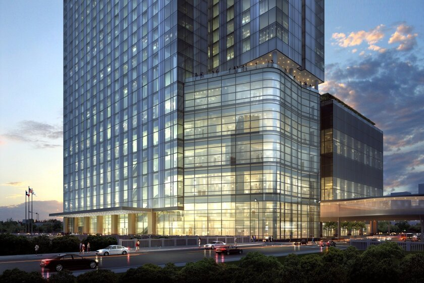 The planned Fairmont Austin will rise nearly 600 feet and link to the convention center via an aerial promenade.