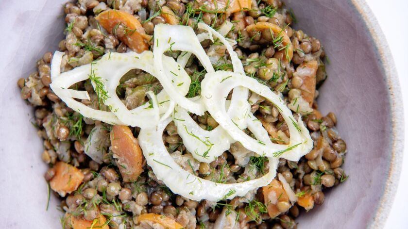 Fennel and lentil salad with dill