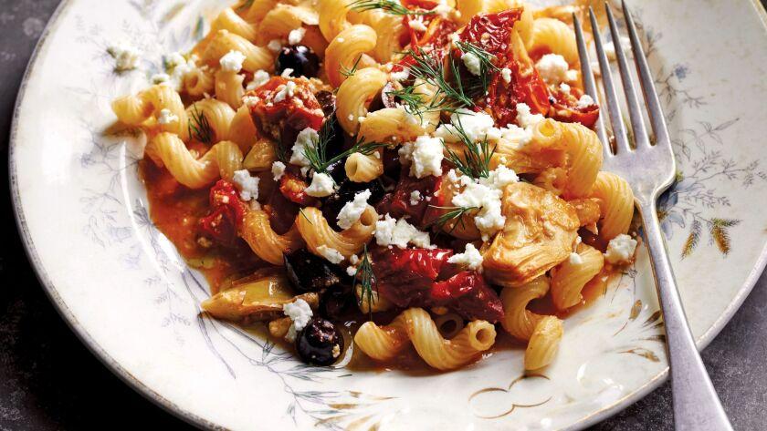 "Mediterranean Cavatappi, from Colu Henry's ""Back Pocket Pasta."""