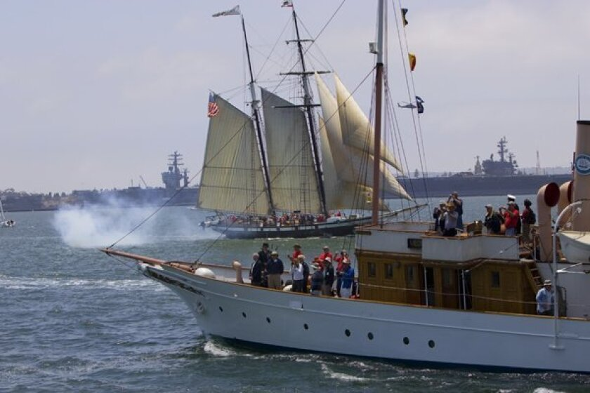 With the Californian in the background, the Medea circles one last time at the end of the race against the steam yacht Cangarda.