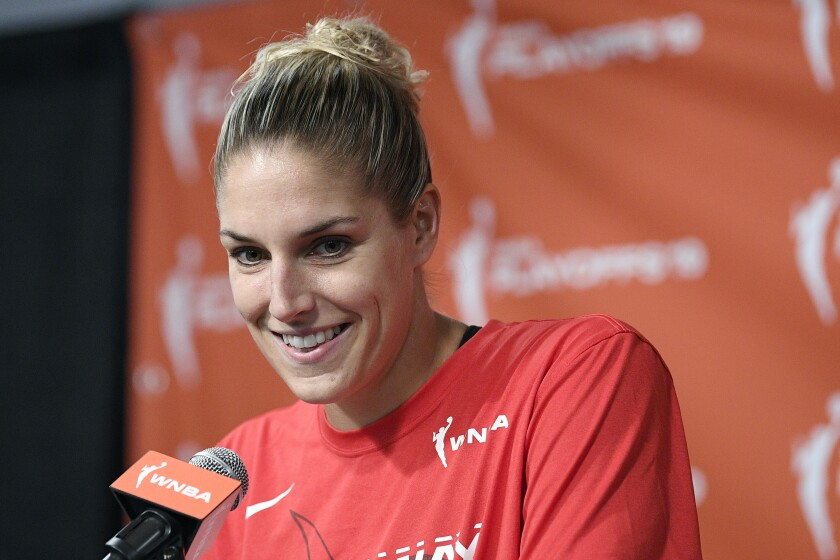 Washington Mystics forward Elena Delle Donne speaks at a news conference after being named the 2019 WNBA MVP.
