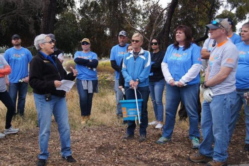 District 2 City Council member Jennifer Campbell joins volunteers at Rose Creek for the 17th annual Creek to Bay Cleanup in April, sponsored by I Love a Clean San Diego.