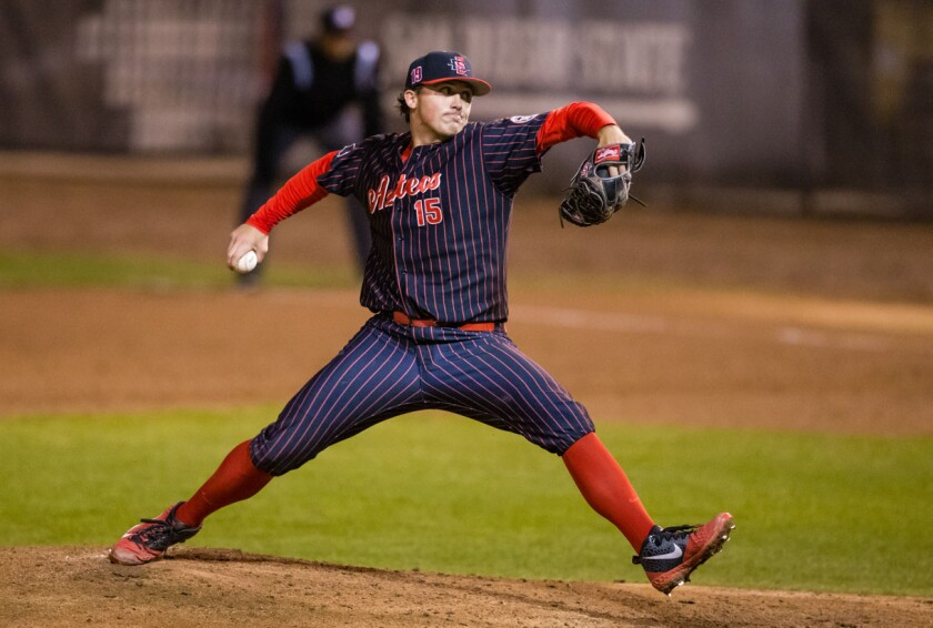 San Diego State right-hander Logan Boyer possesses a mid-90s fastball that was among the attributes the Dodgers considered when they chose him this week in the 11th round of the 2019 MLB Draft.