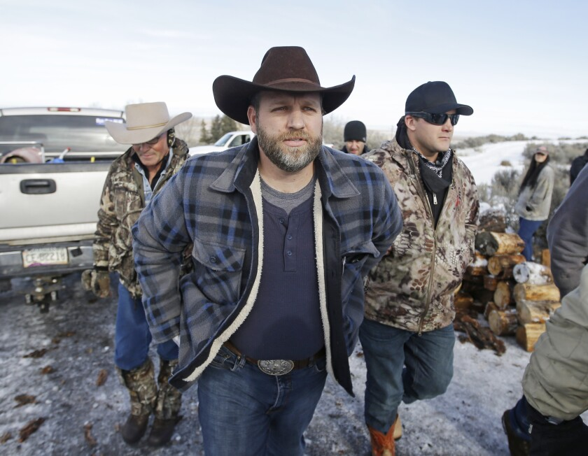Ammon Bundy, one of the sons of Nevada rancher Cliven Bundy, arrives for a news conference at Malheur National Wildlife Refuge in January.