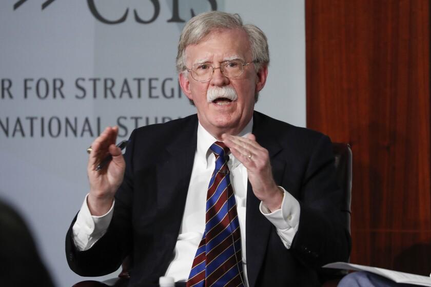 Former National security adviser John Bolton speaks at the Center for Strategic and International Studies in Washington.