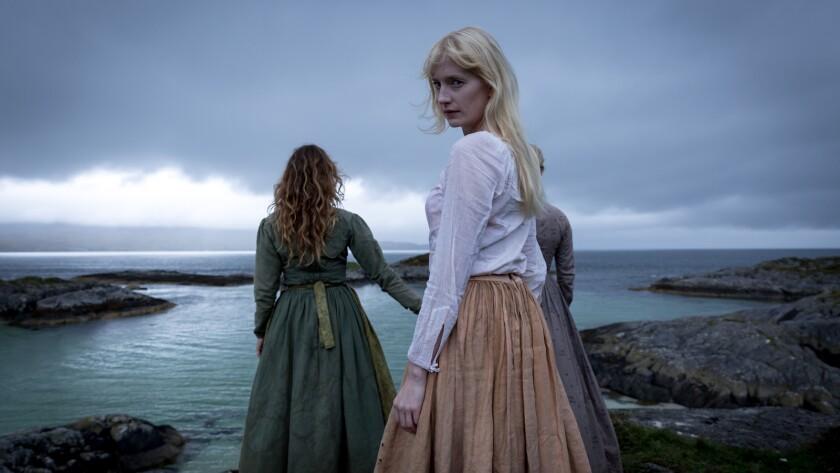 Alex Wilton Regan as Korrigan (left), Emma King as Persephone (center), and Tori Butler Hart as Lant