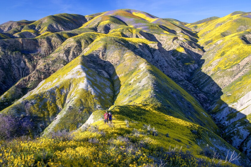 Hikers at the Temblor Range on the east side of Carrizo Plain National Monument.