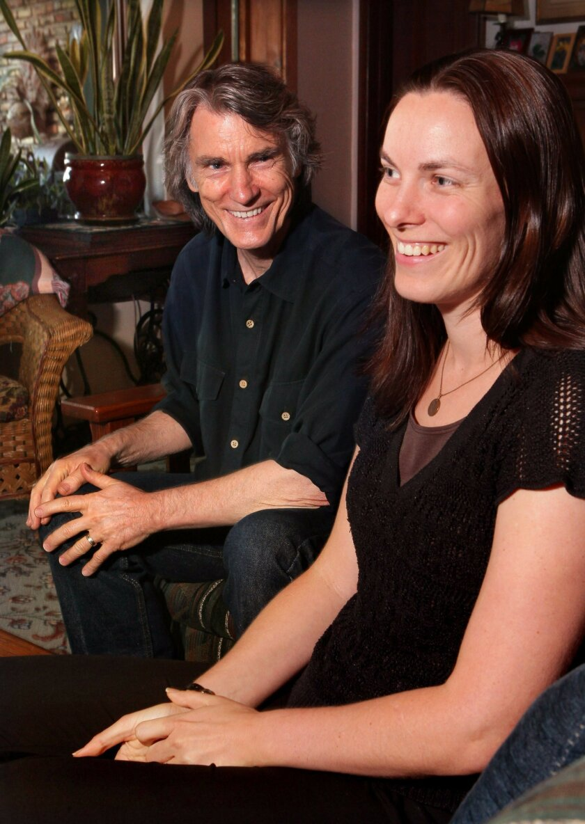 """""""Luann"""" cartoonist Greg Evans and his daughter Karen Evans discuss the comic and her future involvement in its production at Greg's San Marcos home."""