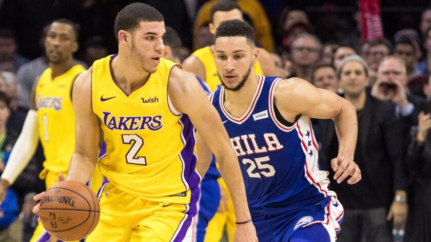 Lonzo Ball made five of 11 shots for 10 points to go with eight assists, eight rebounds, four blocks and three steals Thursday night against Ben Simmons and the 76ers.
