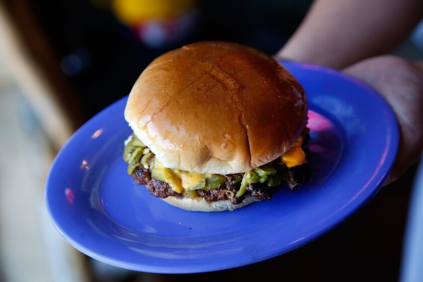 Green chile cheeseburger at Sparky's in Hatch, NM.