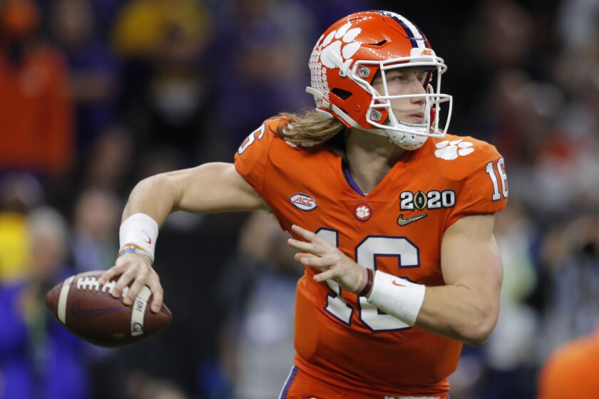 Clemson quarterback Trevor Lawrence looks to pass during the NCAA College Football Playoff national championship game