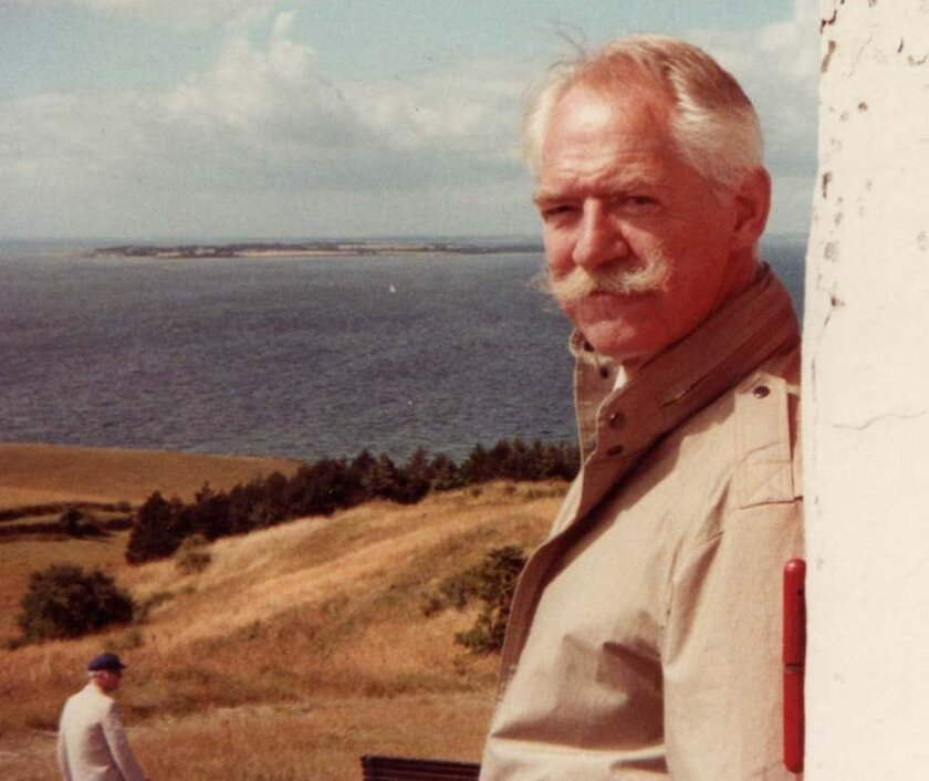 In this undated photo provided by Peter Blegvad, Erik Blegvad poses on the Danish island of Samso.  Children's book artist Erik Blegvad, known for his whimsical illustrations of more than 100 books, has died in London. He was 90. His eldest son, musician and cartoonist Peter Blegvad, said his fathe