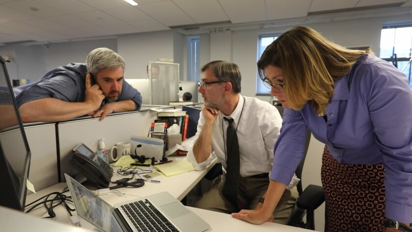 """In Showtime's documentary series """"The Fourth Estate,"""" from left, investigative reporter Matt Apuzzo, White House correspondent Michael Shear and Washington night editor Lara Jakes during the James Comey firing."""