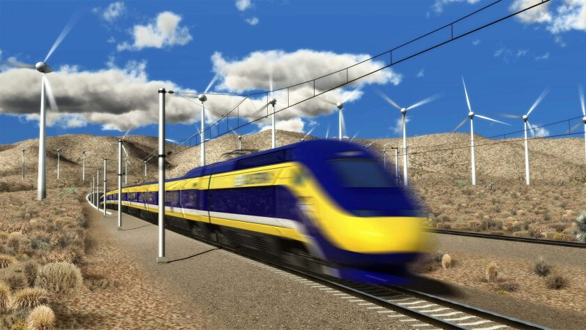 In an artist's rendering, a high speed train hurtles through the high desert in Southern California. Rail officials are planning to build a 500-mile system to link Los Angeles and San Francisco.
