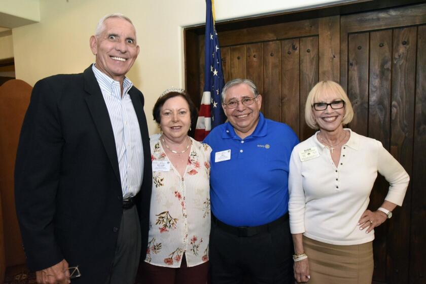 RSF Rotary President Mike Taylor, Judy Gallegos and Rotary District 5340 Governor Mel Gallegos, Assistant Governor Susan Callahan