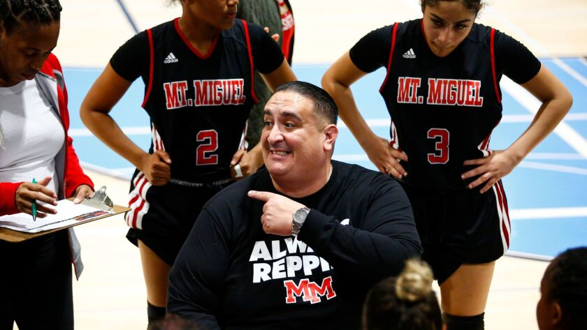 Mount Miguel head coach Robbie Sandoval speaks with his team between periods.