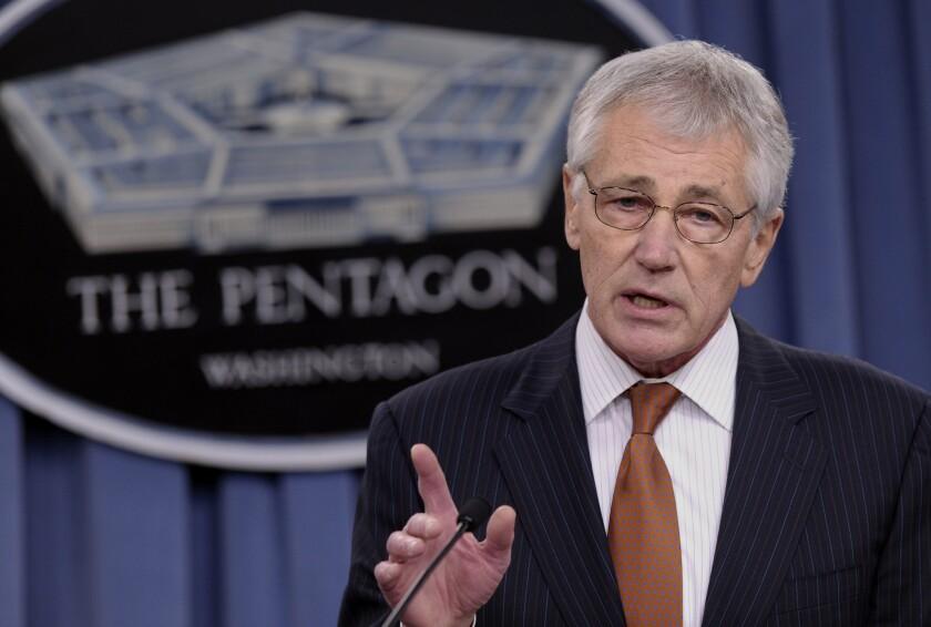 Defense Secretary Chuck Hagel, above, on Friday nominated Robert O. Work to be deputy defense secretary.