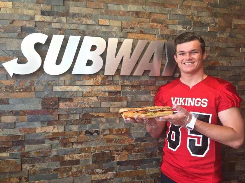 Grant Miller with his new 'G Meal Griller' sandwich at Subway in La Jolla.