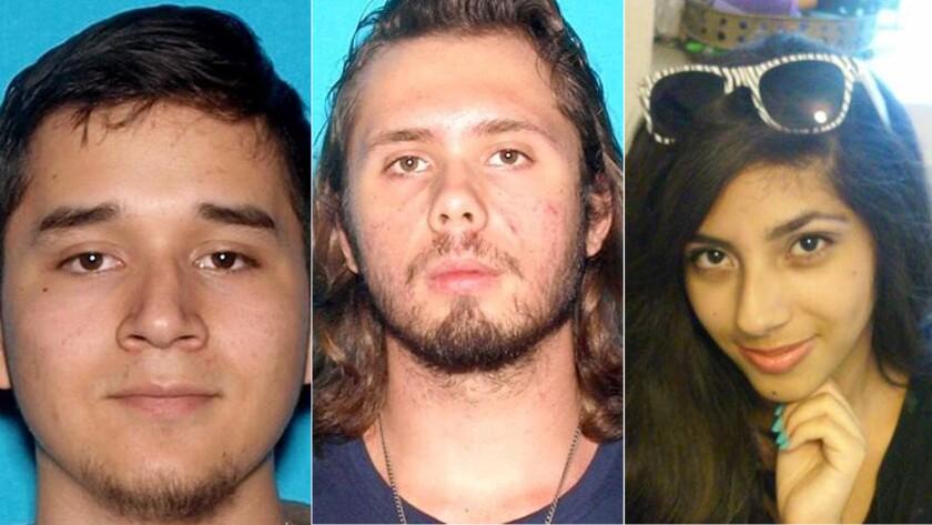 Daniel Gamboa, left, Kasey Vance and Samantha Ornelas went missing over the weekend.