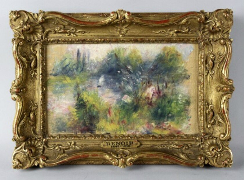 "Shown is ""Paysage Bords de Seine,"" an 1879 painting by French Impressionist artist Pierre-Auguste Renoir."