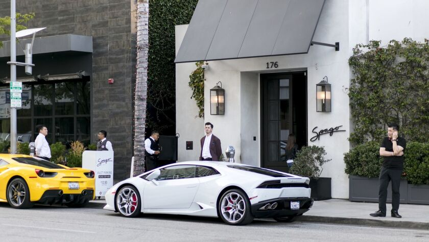 BEVERLY HILLS, CALIFORNIA - June 19, 2019: Spago's exterior on Wednesday, June 19, 2019, at the Wol