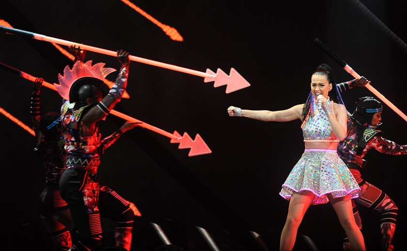 Katy Perry performs at Honda Center in Anaheim in September. The singer will perform Sunday at halftime of the Super Bowl.