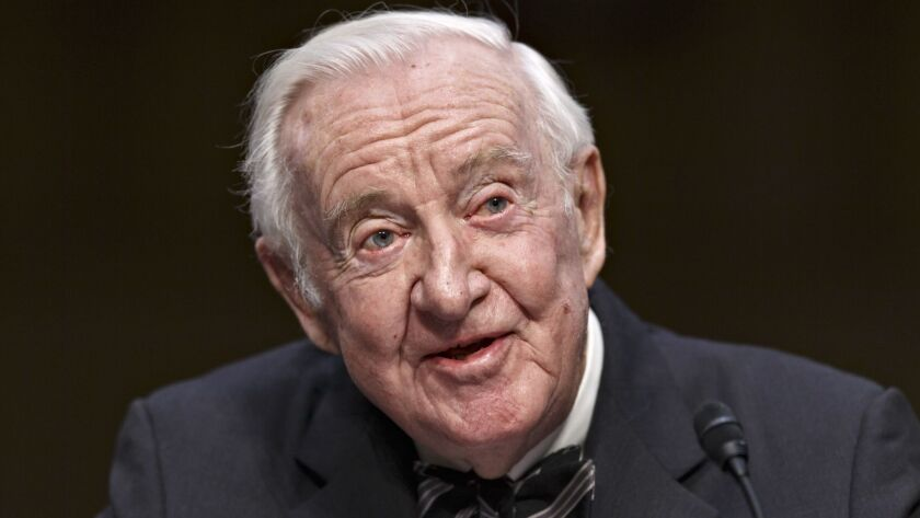 Retired Supreme Court Justice John Paul Stevens testifies in Washington in 2014. He is calling for the repeal of the 2nd Amendment to allow for significant gun control legislation.