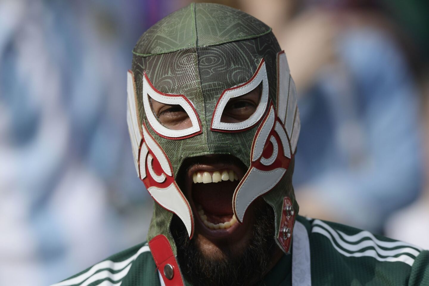 A Mexico supporter poses prior to the Russia 2018 World Cup Group F football match between Germany and Mexico at the Luzhniki Stadium in Moscow on June 17, 2018.