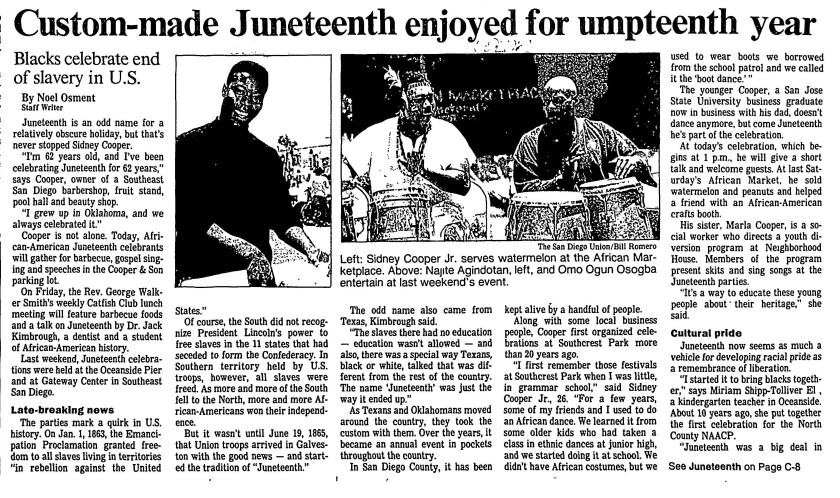 Juneteenth celebration reported in The San Diego Union, June 19 1991.