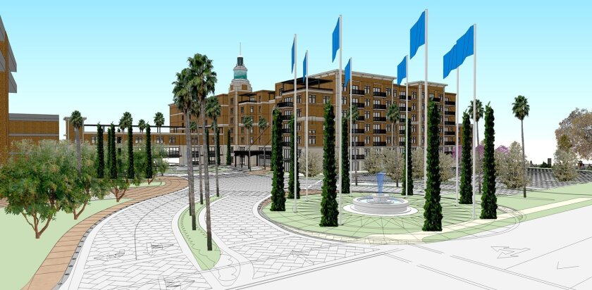 The new apartment complex will be just north of the existing U-T San Diego office building in Mission Valley.