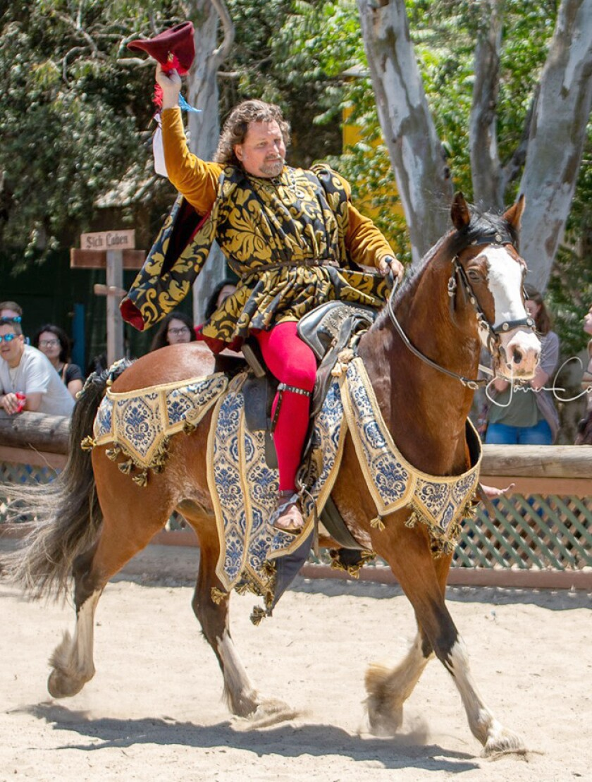 Black Swan Designs made these costumes for rider Jeffrey Hedgecock and his horse Leo at the Koroneburg Renaissance Faire.