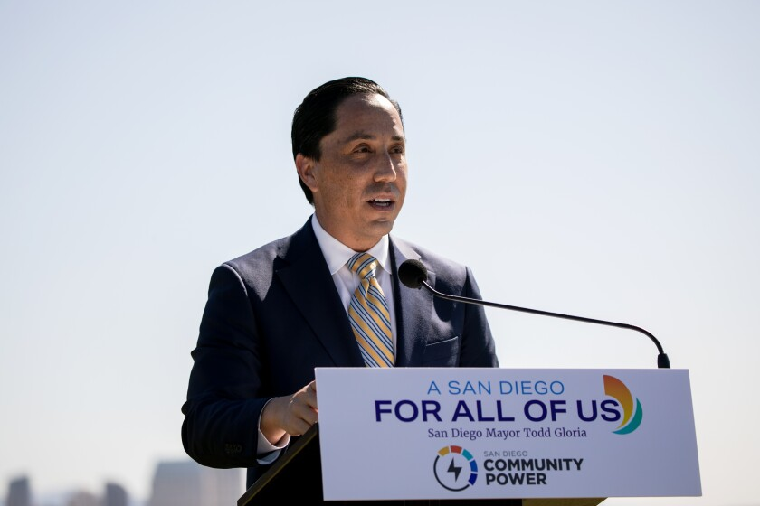 San Diego Mayor Todd Gloria speaks at a press conference announcing the rollout of San Diego Community Power.