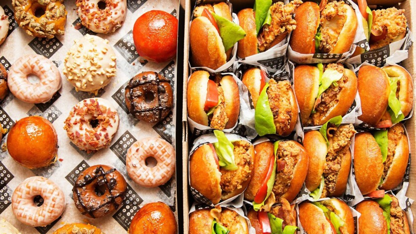 A selection of doughnuts and fried chicken sandwiches from Astro Doughnuts & Fried Chicken, opening next year in downtown L.A.