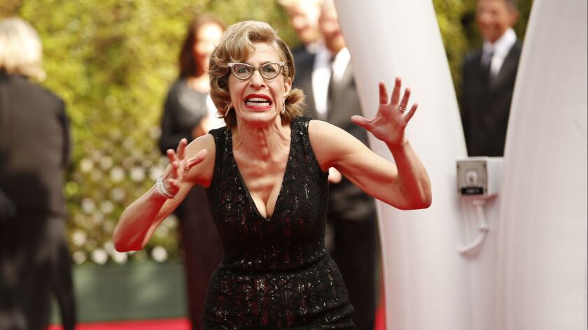 LOS ANGELES, CA., September 17, 2017: Jackie Hoffman arriving at the 69th Emmy Awards at t