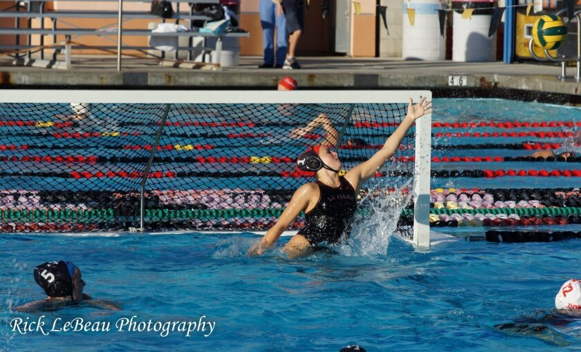 Lauren Silver makes a save earlier in the season for La Jolla. The Vikings take on Cathedral Catholic tonight. Rick LeBeau