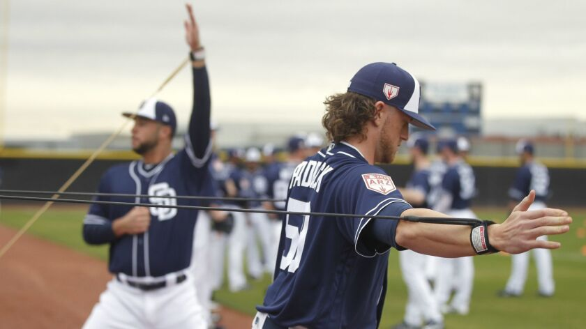 PEORIA, February 14, 2019 | Padres pitchers Chris Paddack, and and Joey Lucchesi warmup on the first