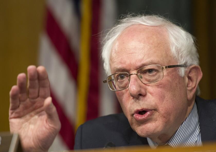 Sen. Bernie Sanders speaks during a meeting of the Veterans Affairs Committee in Washington on May 15, 2014.
