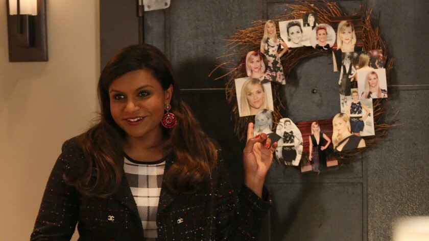 """Mindy Kaling debuts her """"Wreath Witherspoon"""" on """"The Mindy Project."""" The decoration has garnered Reese Witherpsoon's attention and inspired several fan versions."""