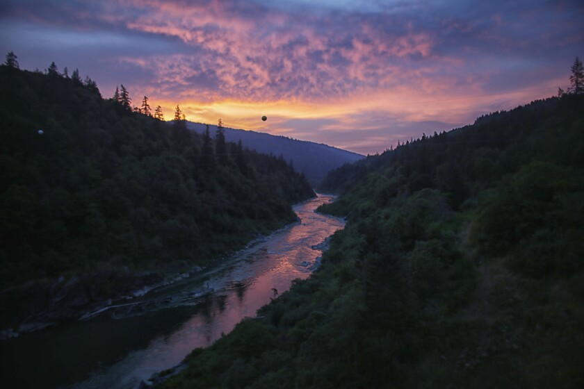 Sunset on the Klamath River as it runs through Yurok reservation.