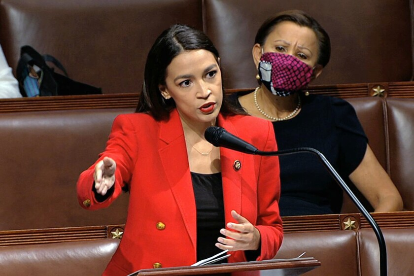 Rep. Alexandria Ocasio-Cortez speaks on the floor of the House of Representatives on July 23.