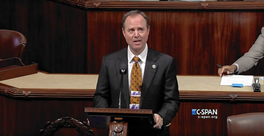 Rep. Adam Schiff (D-Burbank), wearing a Mets tie, takes the House floor Friday to give a speech extolling the team's virtues as part of a friendly wager with Rep. Steve Israel (D-New York) over the Dodgers-Mets playoff series.