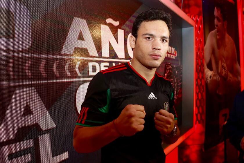 Julio César Chávez Jr, en la presentación de su nuevo combate.