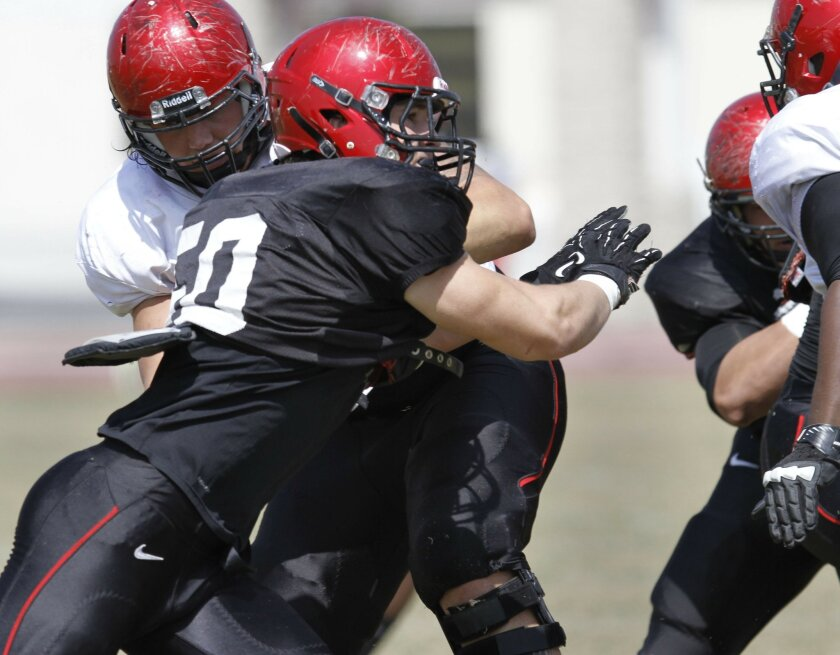 San Diego State linebacker Derek Largent (black jersey) during the annual Red & Black Spring Game on Saturday, March 23rd, 2013.