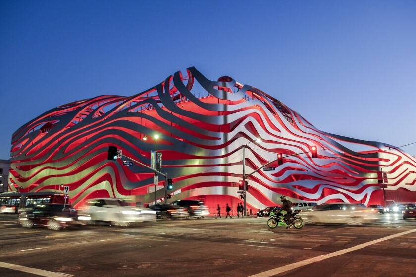 The Petersen Automotive Museum on Wilshire Boulevard in Los Angeles.