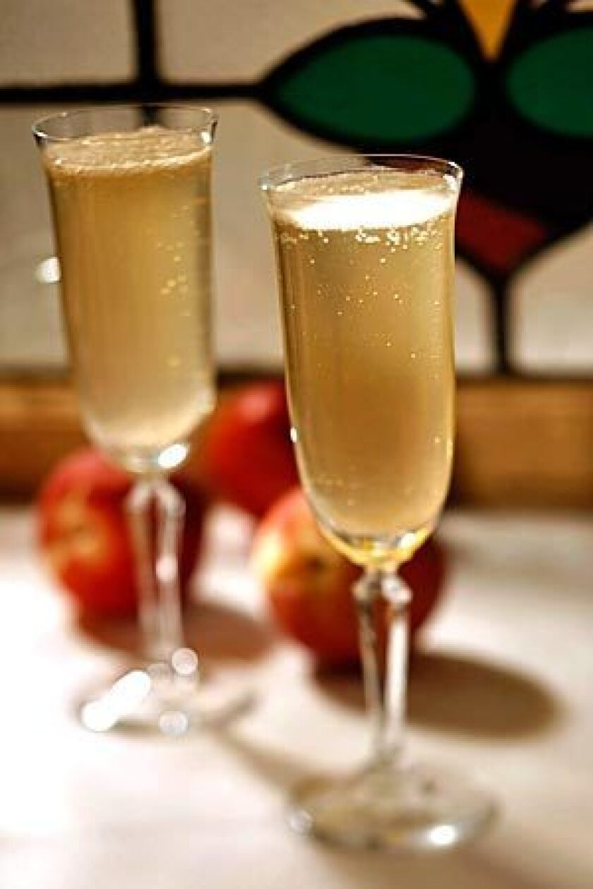 The Bellini, the Venetian aperitivo of white peach juice and Prosecco, the sparkling wine from the Veneto. The original was invented by Giuseppe Cipriani at Harry's Bar in Venice, Italy.