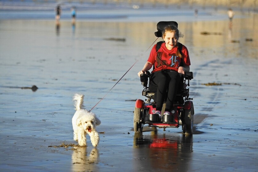 Lilly Grossman enjoys a La Jolla beach with her dog in 2014. She is preparing to attend Whittier College in September.