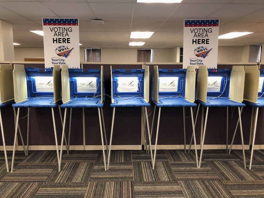 Voting booths in Minneapolis in 2018.