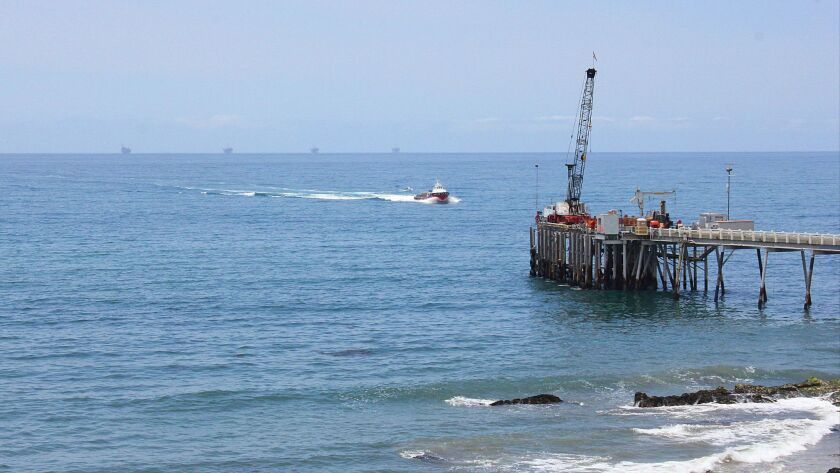 Oil drilling near a service pier in the Santa Barbara Channel off the coast of Southern California near Carpinteria on May 16, 2015.